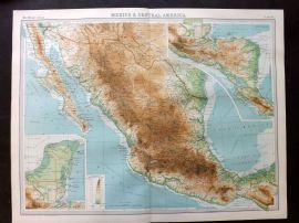 Bartholomew 1922 Large Map. Mexico and Central America